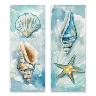 """Watercolor Shells I & II"" Printed Canvas - Set of 2, 8W x 20H x 1.25D each - Multi-color"