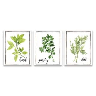 """Watercolor Herbs I"" Printed Canvas - Set of 3, 8W x 10H x 1.25D each - Multi-color"