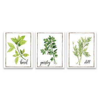 """""""Watercolor Herbs I"""" Printed Canvas - Set of 3, 8W x 10H x 1.25D each - Multi-color"""