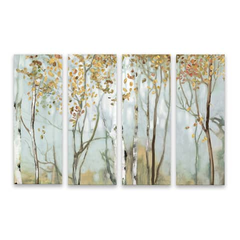 """""""Birch In The Fog II"""" Hand Embellished Canvas - Set of 4, 40W x 27H x 1.25D - Multi-color"""