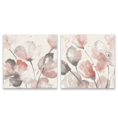 """""""Neutral Pink Floral"""" Hand Embellished Canvas - Set of 2, 14W x 14H x 1.25D each"""
