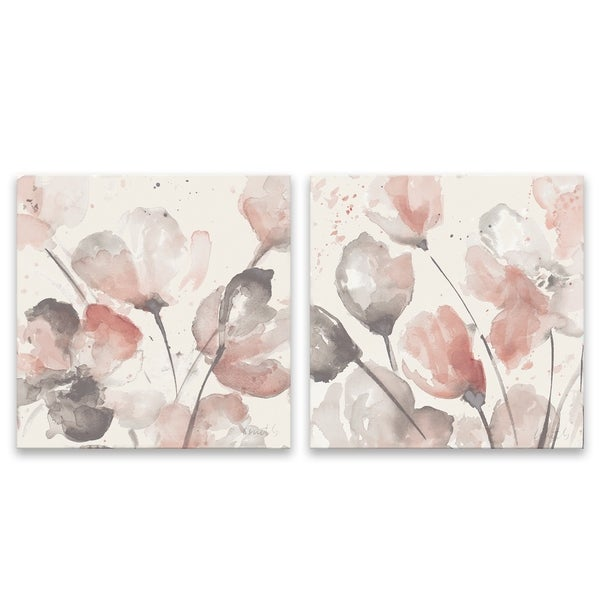 """""""Neutral Pink Floral"""" Hand Embellished Canvas - Set of 2, 14W x 14H x 1.25D each - Multi-color"""