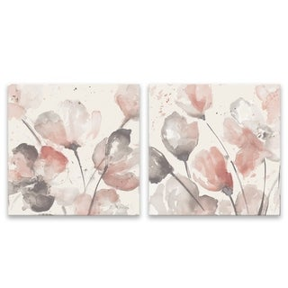 """Neutral Pink Floral"" Hand Embellished Canvas - Set of 2, 14W x 14H x 1.25D each - Multi-color"