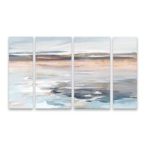 """""""Beyond the Sea"""" Hand Embellished Canvas - Set of 4, 40W x 24H x 1.25D - Multi-color"""