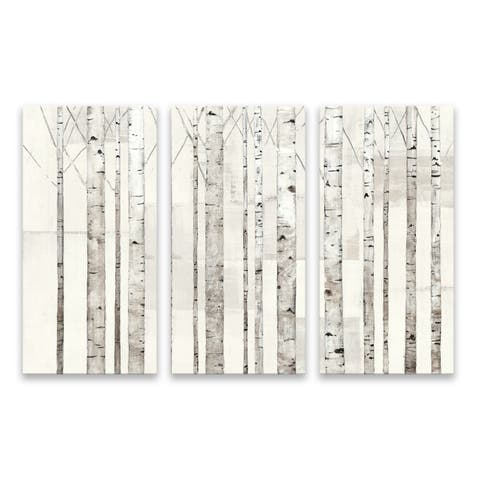 """""""Birch Trees On White"""" Hand Embellished Canvas - Set of 3, 36W x 24H x 1.25D - Multi-color"""