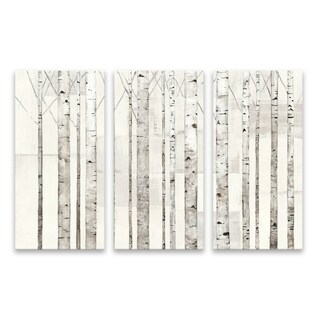"""Birch Trees On White"" Hand Embellished Canvas - Set of 3, 36W x 24H x 1.25D"