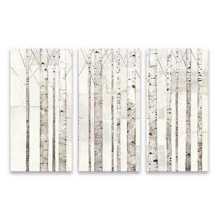 """Birch Trees On White"" Hand Embellished Canvas - Set of 3, 36W x 24H x 1.25D - Multi-color"