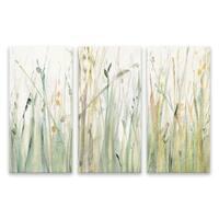 """Spring Grasses I"" Hand Embellished Canvas - Set of 3, 36W x 24H x 1.25D - Multi-color"