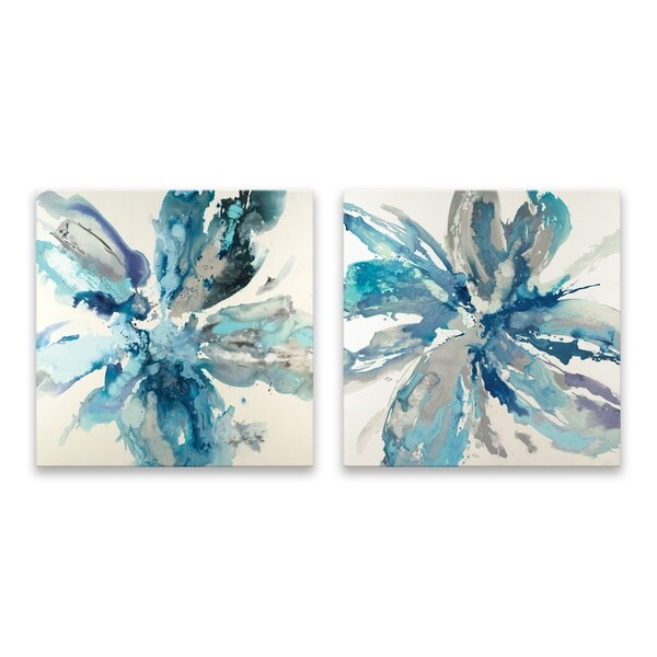 """""""Flower Explosion"""" Hand Embellished Canvas - Set of 2, 14W x 14H x 1.25D each - Multi-color"""