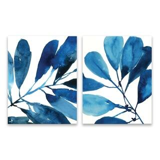"""Sapphire Stems I & II"" Hand Embellished Canvas - Set of 2, 11W x 14H x 1.25D each - Multi-color"