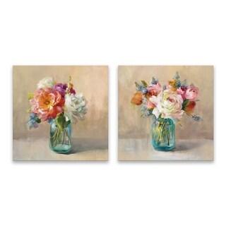 """Cottage Bouquet"" Hand Embellished Canvas - Set of 2, 14W x 14H x 1.25D each"
