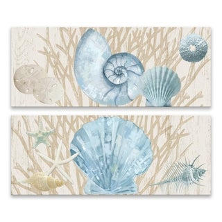 """Rustic Shells on Wood I & II"" Printed Canvas - Set of 2, 20W x 8H x 1.25D each"