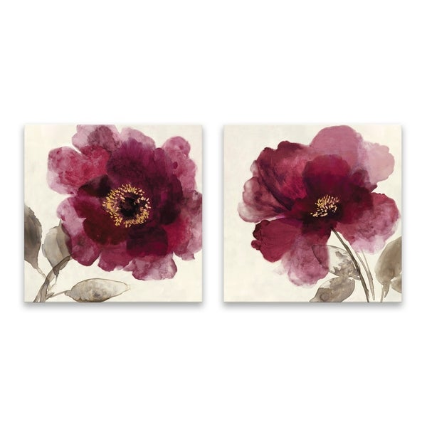 """Crimson Peony I & II"" Hand Embellished Canvas - Set of 2, 14W x 14H x 1.25D each - Multi-color"