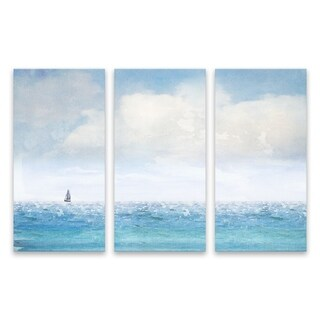 """""""Lone Sailboat"""" Printed Canvas - Set of 3, 36W x 24H x 1.25D - Multi-color"""