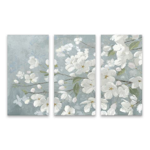 """""""Spring Beautiful Gray"""" Hand Embellished Canvas - Set of 3, 36W x 24H x 1.25D - Multi-color"""