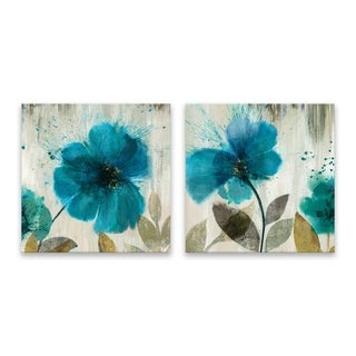 """""""Teal Splash"""" Hand Embellished Canvas - Set of 2, 14W x 14H x 1.25D each - Multi-color"""
