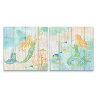 """Sea Splash Mermaid I & II"" Printed Canvas - Set of 2, 14W x 14H x 1.25D each"
