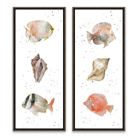 """Coastal Medley"" Framed Printed Canvas - Set of 2, 8W x 20H x 1.25D each"