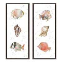 """""""Coastal Medley"""" Framed Printed Canvas - Set of 2, 8W x 20H x 1.25D each"""