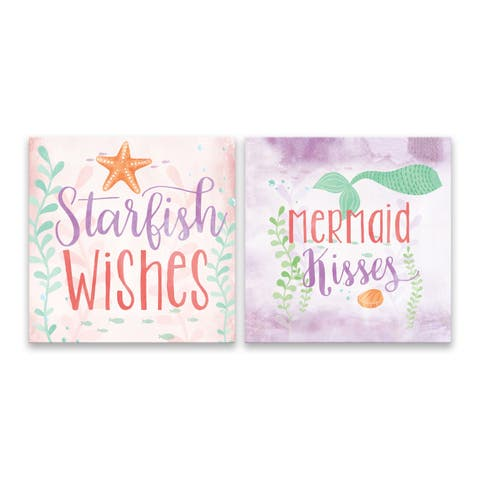 """""""Starfish Wishes and Mermaid Kisses"""" Printed Canvas - Set of 2, 14W x 14H x 1.25D each"""