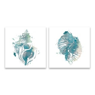 """""""Teal Watercolor Seashell I & IV"""" Printed Canvas - Set of 2, 14W x 14H x 1.25D each"""