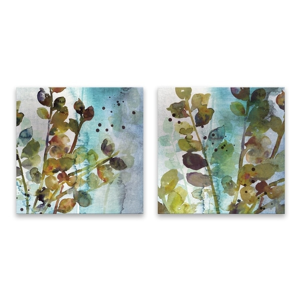 """""""Within I & II"""" Hand Embellished Canvas - Set of 2, 14W x 14H x 1.25D each - Multi-color"""