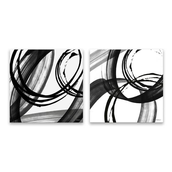 """""""Black and White Pop"""" Hand Embellished Canvas - Set of 2, 14W x 14H x 1.25D each - Multi-color"""