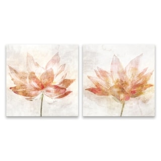 """""""Rosy Flower"""" Hand Embellished Canvas - Set of 2, 14W x 14H x 1.25D each - Multi-color"""