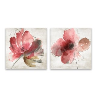 """""""Mary"""" Hand Embellished Canvas - Set of 2, 14W x 14H x 1.25D each - Multi-color"""