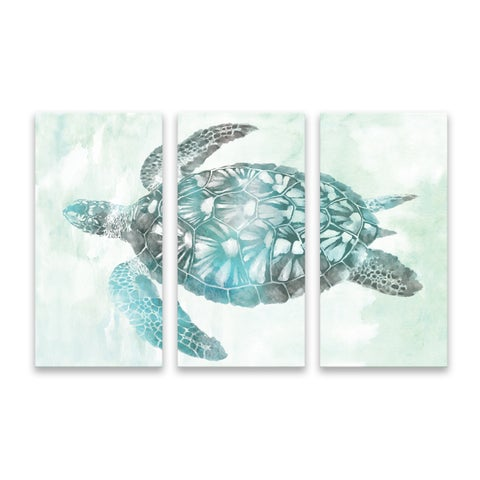 """Soft Aqua Sea Turtle"" Printed Canvas - Set of 3, 36W x 24H x 1.25D"