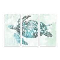"""Soft Aqua Sea Turtle"" Printed Canvas - Set of 3, 36W x 24H x 1.25D - Multi-color"