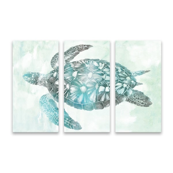 """Soft Aqua Sea Turtle"" Printed Canvas - Set of 3, 36W x 24H x 1.25D - Multi-color"