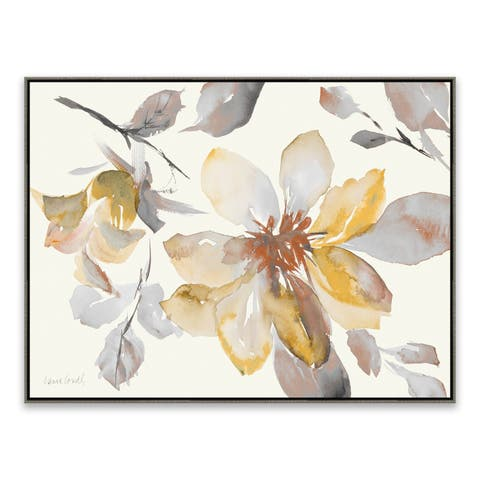 """""""Clematis in Neutral Shades"""" Framed Hand Embellished Canvas - 32.875W x 24.875H x 2D - Multi-color"""