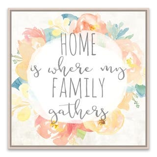 """""""Home Is Where My Family Gathers"""" Framed Printed Canvas - 16.875W x 16.875H x 2D - Multi-color"""