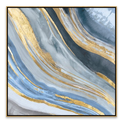 """Agate II Gold"" Framed Hand Embellished Canvas - 27.875W x 27.875H x 2D"