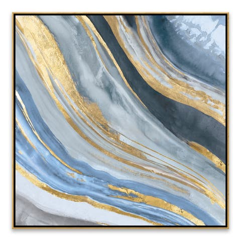 """Agate II Gold"" Framed Hand Embellished Canvas - 27.875W x 27.875H x 2D - Multi-color"