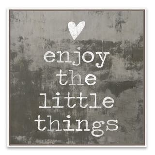 """""""Enjoy the Little Things"""" Framed Printed Canvas - 18.875W x 18.875H x 2D - Multi-color"""