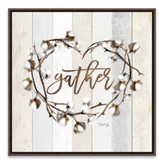 """""""Gather Cotton Heart Wreath"""" Framed Printed Canvas - 16.875W x 16.875H x 2D - Multi-color"""