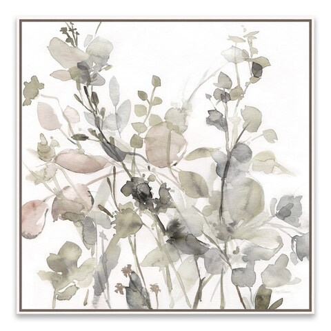 """Sage Garden II - Neutral"" Framed Hand Embellished Canvas - 24.875W x 24.875H x 2D"