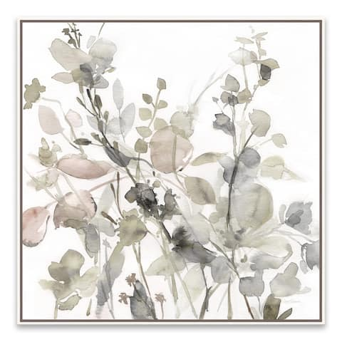 """Sage Garden II - Neutral"" Framed Hand Embellished Canvas - 24.875W x 24.875H x 2D - Multi-color"