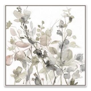 """Sage Garden II - Neutral"" Framed Hand Embellished Canvas - 24.875W x 24.875H x 2D"