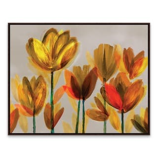 """""""Contemporary Poppies Yellow"""" Framed Printed Canvas - 28.875W x 22.875H x 2D - Multi-color"""