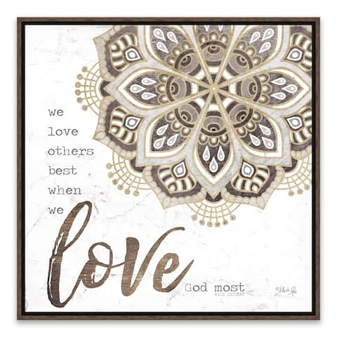 """""""Love God Most"""" Framed Printed Canvas - 18.25W x 18.25H x 1.25D - Multi-color"""