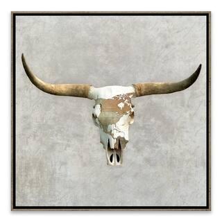 """Bull Skull Grey"" Framed Printed Canvas - 18.875W x 18.875H x 2D - Multi-color"