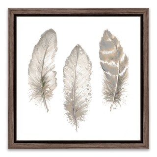 """""""Neutral Watercolor Feathers II"""" Framed Printed Canvas - 18.25W x 18.25H x 1.25D"""