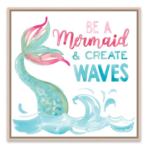 """""""Be A Mermaid And Make Waves"""" Framed Printed Canvas - 14.875W x 14.875H x 2D - Multi-color"""