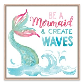 """""""Be A Mermaid And Make Waves"""" Framed Printed Canvas - 14.875W x 14.875H x 2D"""