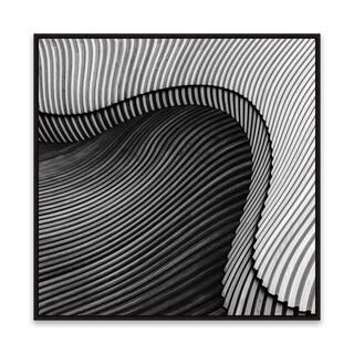 """Vangindertael - Sea Shore"" Framed Printed Canvas - 24.875W x 24.875H x 2D - Black/White"