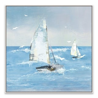 """""""White Sails II"""" Framed Printed Canvas - 27.875W x 27.875H x 2D - Multi-color"""
