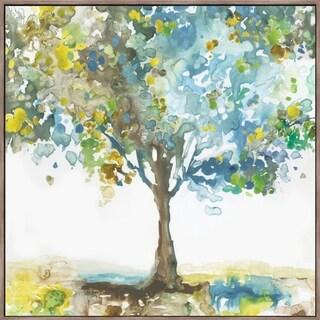 """Majestic Blue"" Framed Hand Embellished Canvas - 27.875W x 27.875H x 2D"
